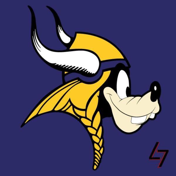 minnesota goofy vikings disney characters as nfl logos