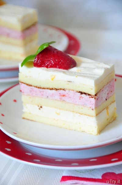 Meyer Lemon and Strawberry Mousse Cakes: