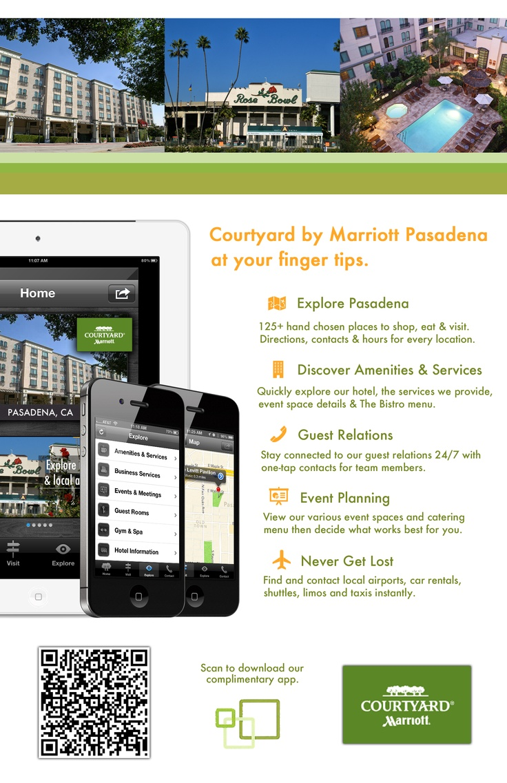 Tent card advertising for Courtyard Marriott Pasadena's new mobile app! #hotelapps