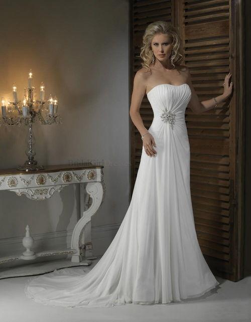 Brilliant Empire Strapless White Chapel Train Beach Wedding Dress
