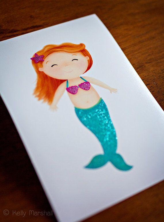 Mermaid Art Print  Kids Art  Glitter Art  by SweetCheeksImages $15 AUD
