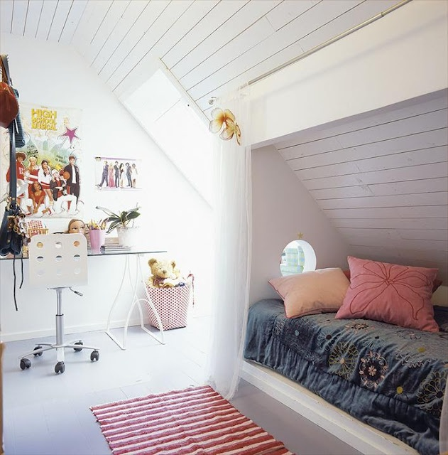 I love this idea for Lilly's room with the sloped ceiling.