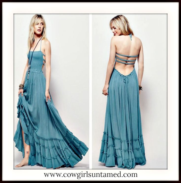 SEXY BOHEMIAN WILDFLOWER DRESS! Blue Smocked Front Strappy Vintage Style Boho Tiered Maxi Dress  #dress #maxidress #tiered #openback #sexy #lowback #ruffl #strappy #long #smocked #halter #bohemian #boho #gypsy #cowgirl #boutique #fashion #style #wedding #beautiful #bridesmaid