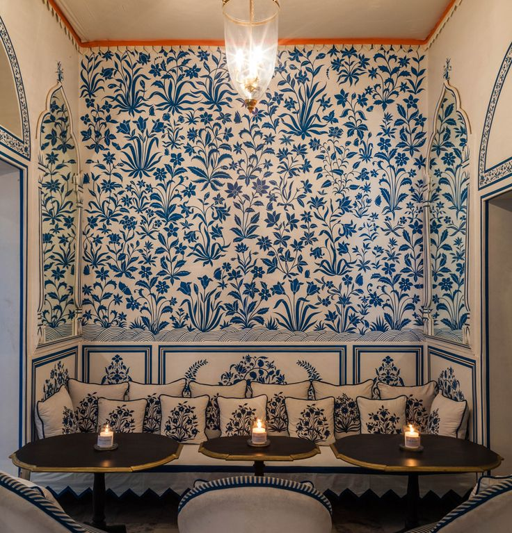 Bar Palladio, Jaipur  Reminiscent of the fame blue pottery of Jaipur, the walls and upholstery reflect intricate floral designs in blue on a white surface. Image courtesy, Par Hawk