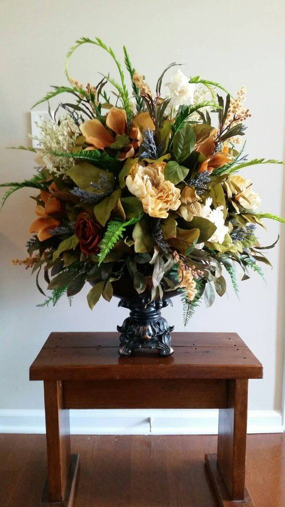 Extra Large Silk Floral Arrangement Italian Tuscan Old World Decor Dining Room Foye In 2020 Large Floral Arrangements Home Floral Arrangements Fall Floral Arrangements