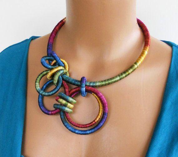 fiber art necklace [can do this with crocheted rings.]