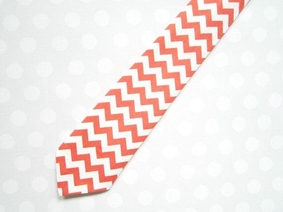 Boys Coral Chevron Tie by crocodilecrunch on Etsy, $16.00