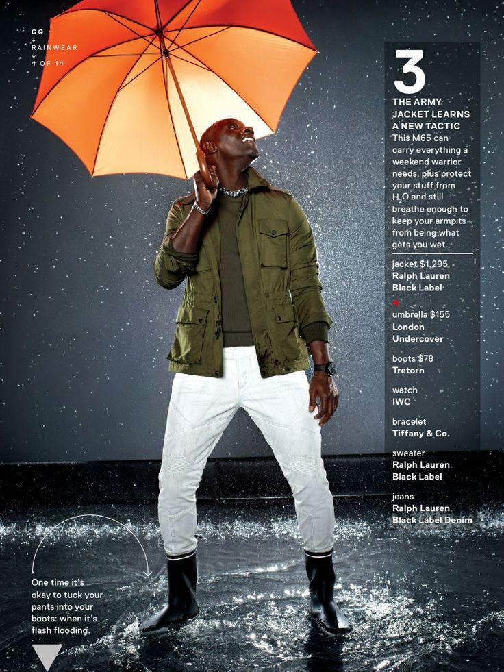 copilot style celebrities 201405 1399650580343 omar sy gq raincoat gq  magazine may 2014 fashion style men weather 04