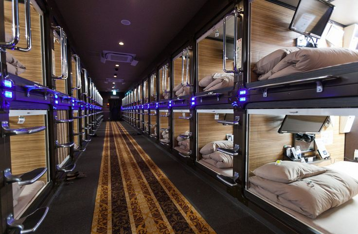Mandatory Credit: Photo by Aflo/REX/Shutterstock (5826515b) Capsule bedrooms 'Anshin Oyado' luxury capsule hotel, Tokyo, Japan - 07 Aug 2016 Anshin Oyado luxury capsule hotel located within 3-minutes of the busy Shinjuku station, Tokyo, Japan. The new take on the traditional Japanese capsule hotel offers larger capsules, free artificial hot springs & mist sauna, internet cafe and Wi-Fi. This hotel is male only and rates start at 5480 yen (54USD). Each of the hotel's 256 capsules is equipped…