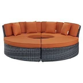 Make your outdoor space the ultimate place to sit back and relax with this Summon Outdoor Patio Sunbrella Daybed in Canvas from Modway. This contemporary outdoor patio seating set easily rearranges depending on your needs — it has two couches that form a half circle, two ottomans that complete the circle and a circular end table in the middle. All pieces are lightweight and can be moved around to create the perfect seating arrangement for a party or get-together. Outfitted with incr...