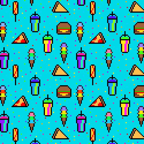 """junk food background pattern"" Lacey Micallef"