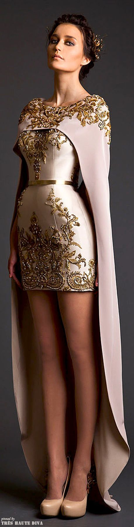 Krikor Jabotian Couture S/S 2014 short dress with long cape