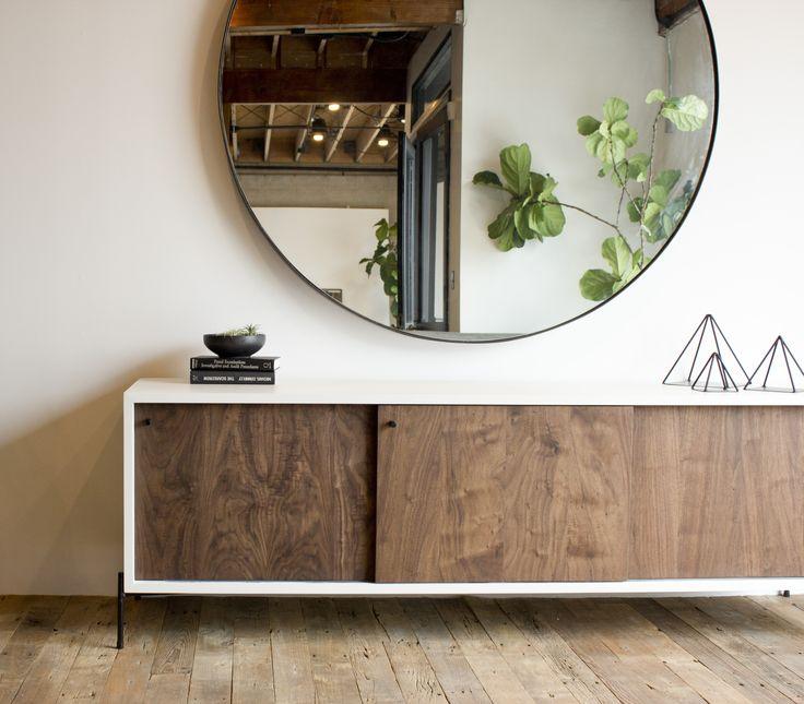 Large Round Steel Mirror, Walnut Credenza