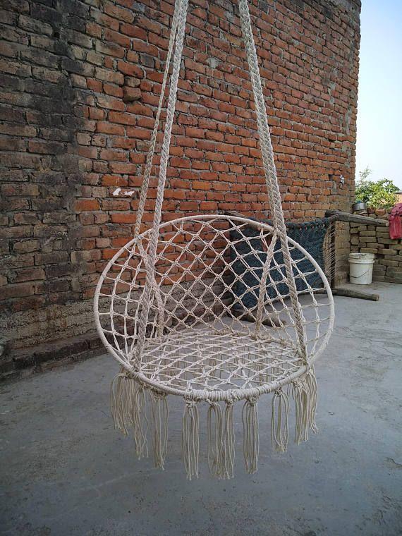 Beige Hanging Cotton Rope Macrame Händchen Chair Swing