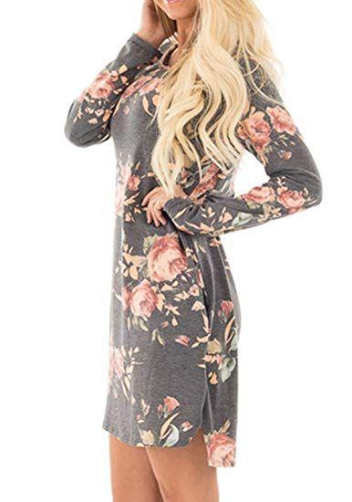 af3fad86065e23 Herbst Winter Neue Blumen Kleid Damen Elegant Rundhals Kleider Baggy  Blusenkleider mit Aufgesetzte Taschen Langarm Minikleid
