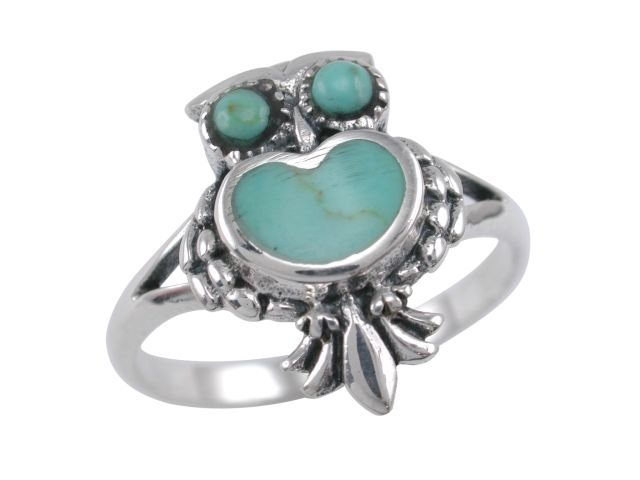 Sterling Silver 17mm Green Turquoise Owl Ring (mixed Finger Sizes)