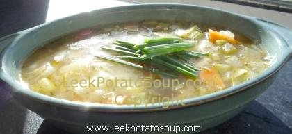 SO GOOD!   Chunky leek, potato, onion and carrot soup