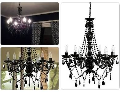 Metal Gothic Chandelier With Black Acrylic Crystals 6 Lights Lighting