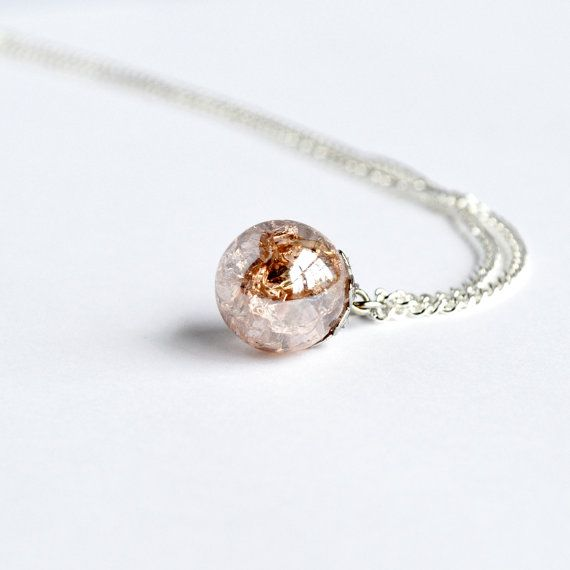 Rosa Champagner zerschmettert Glas Marmor Halskette auf zarte Silberkette