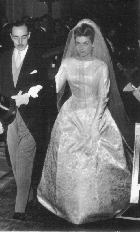 Princess Hélène d'Orléans born 1934 on her wedding day 1957 with her father Henri, Comte de Paris.