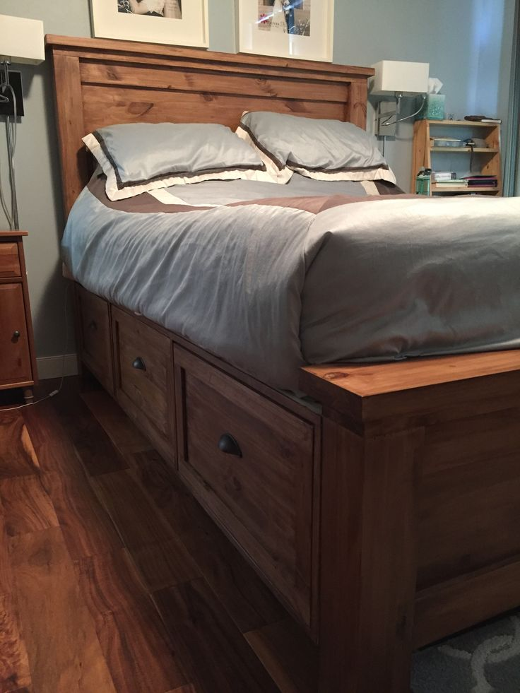 Farmhouse Storage Bed with Storage Drawers - DIY Projects
