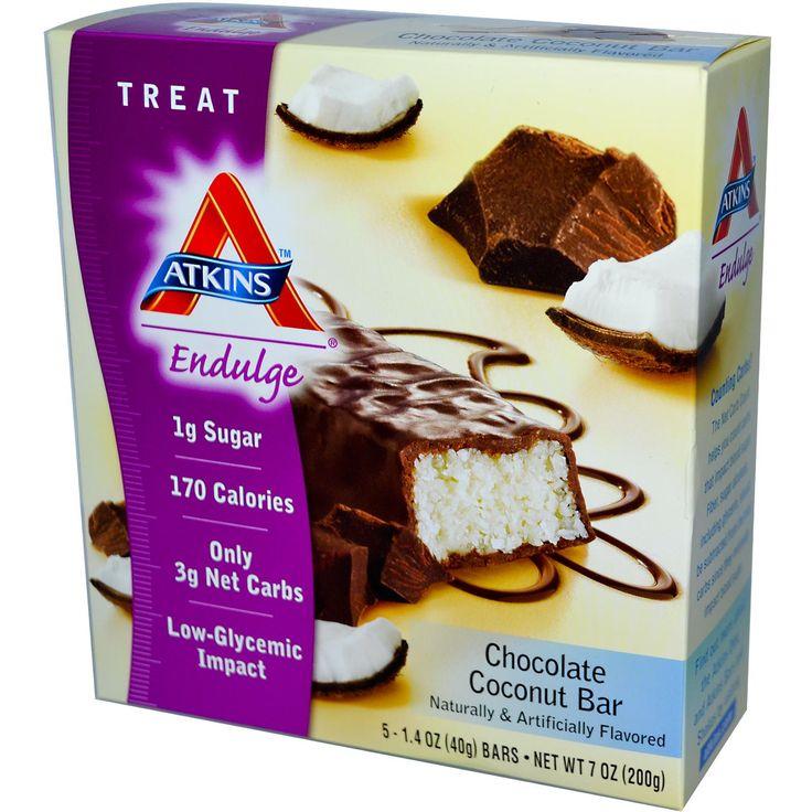 Atkins, Endulge, Chocolate Coconut Bar, 5 Bars, 1.4 oz (40 g) Each - iHerb.com
