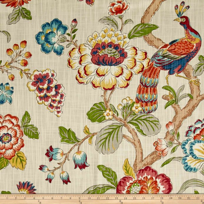 Screen printed on slub duck cloth (slub cloth has a linen appearance), this versatile medium weight cotton fabric is perfect for window accents (draperies, valances, curtains and swags), accent pillows, bed skirts, duvet covers, slipcovers , upholstery and other home decor accents. Create handbags, tote bags, aprons and more. Colors include beige, red, pink, coral, orange, yellow, green, blue, grey, and brown.