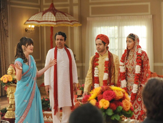 New Girl Season Finale Pics: Nick and Jess Get Close at Cece's Wedding: Jake Johnson and Zooey Deschanel on New Girl.  : Jake Johnson, Zooey Deschanel, Max Greenfield, and Lamorne Morris on New Girl.  : Zooey Deschanel and Max Greenfield on New Girl.  : Hannah Simone on New Girl.  : Satya Bhabha and Hannah Simone on New Girl.