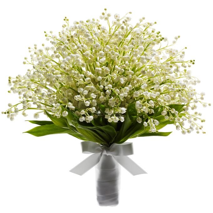 Brides.com: Colorful Wedding Bouquets. Lily of the Valley Bouquet. Simple and sweet, a romantic lily of the valley bouquet is perfect for a garden ceremony in the spring.  Lilies of the valley, $500, Beautiful Blooms  See more garden party wedding ideas.