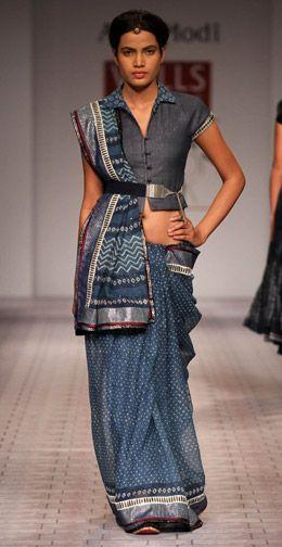 indigo kota sari and shirt blouse by anju modi
