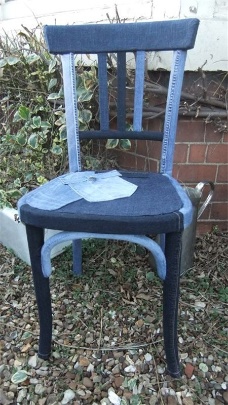 Cover your old chair with jeans and make it look cool - 20 Amazing DIY Denim Ideas
