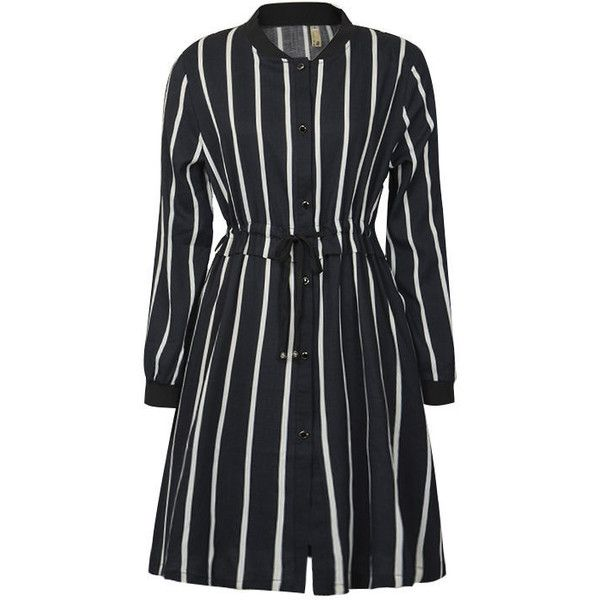 Flore Striped Drawstring Shirtdress ❤ liked on Polyvore featuring dresses, drawstring shirt dress, long shirt dress, stripe shirt dress, striped dresses and drawstring dress