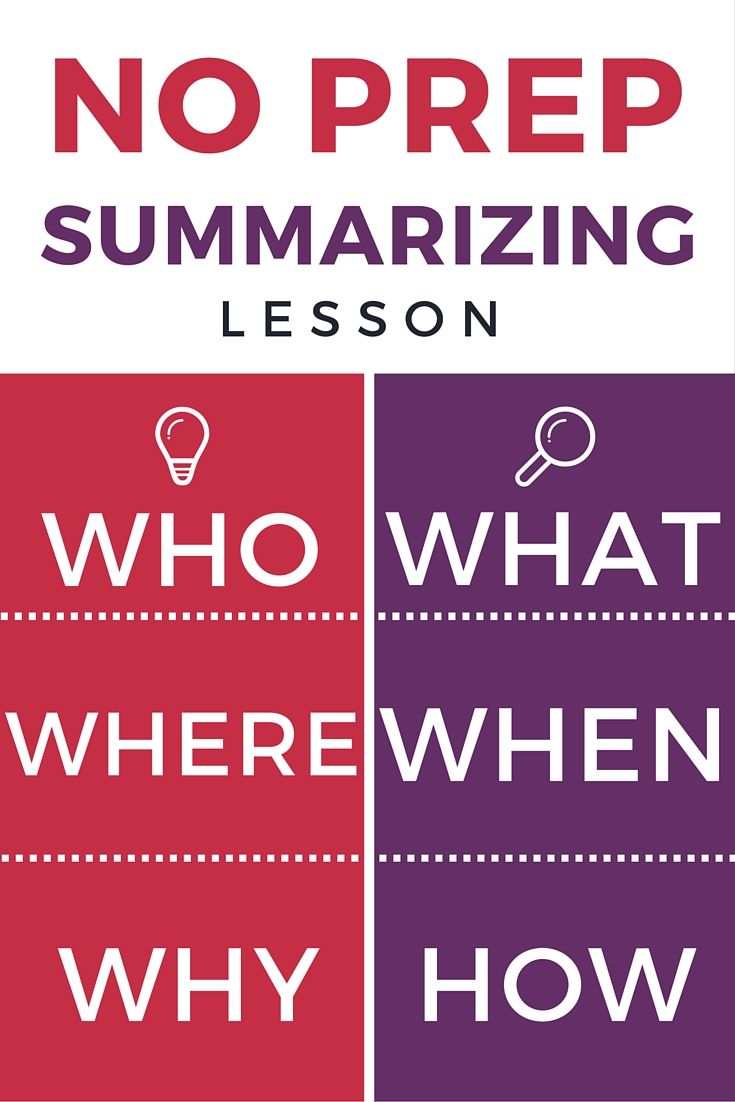 Summarizing: Summarizing worksheets - using who, what, when, where, why, and how