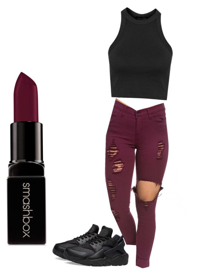 """"""""""" by jnbell on Polyvore featuring Topshop, NIKE and Smashbox"""