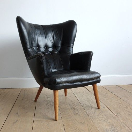 Fantastic Danish Leather Wingback Chair in the Manner of Peder Moos | Lawton Mull