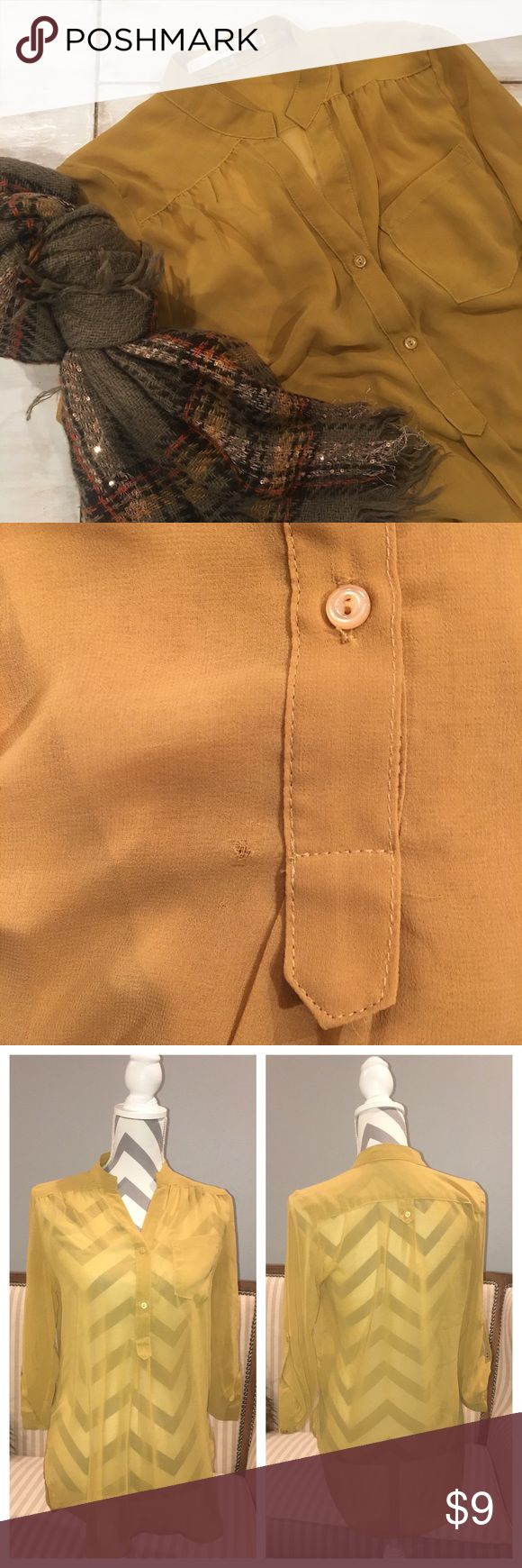Sheer Mustard Shirt 2 buttons   flowing loose fit   small imperfection on front - see photo Tops Blouses