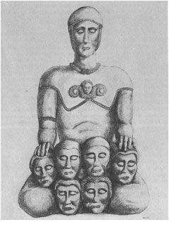 guerrier salyen présentant six têtes coupées, III°-II° s av JC, oppidum d'Entremont, restitution R. Ambard, Musée Granet, Aix en Provence