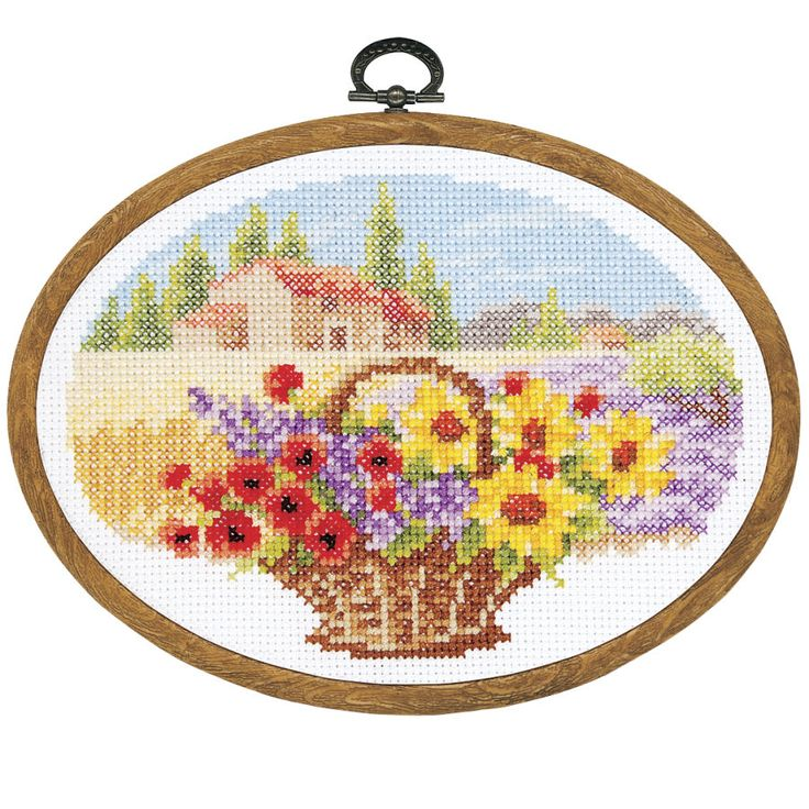 Summer Oval with Frame - Cross Stitch, Needlepoint, Stitchery, and Embroidery Kits, Projects, and Needlecraft Tools   Stitchery