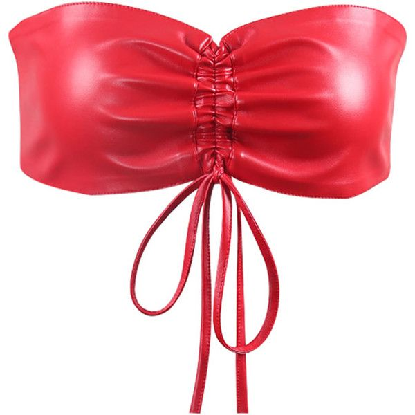 SheIn(sheinside) Drawstring Detail PU Bandeau ($10) ❤ liked on Polyvore featuring tops, red, zipper crop top, party crop tops, embellished crop top, sexy crop top and red crop top