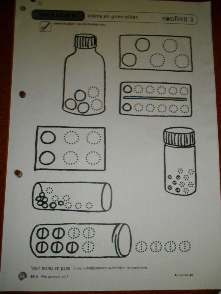 Schrijfmotoriek: pillen omtrekken Bron: confetti