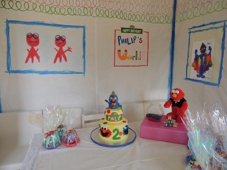 Elmo's world in my dining room. Elmo birthday, Elmo