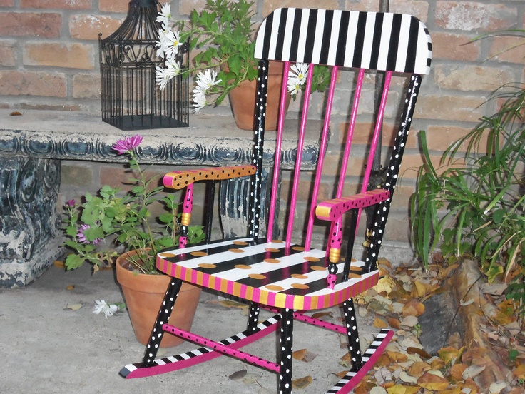 Fabulous Whimsical French Style OOAK Hand Painted Vintage Wooden Childrenu0027s  Rocking Chair