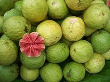 Guavas are rich in dietary fiber, vitamins A and C, folic acid, and the dietary minerals, potassium, copper and manganese. Having a generally broad, low-calorie profile of essential nutrients, a single common guava (P. guajava) fruit contains about 4 times the amount of vitamin C as an orange. A red apple guava cultivar, rich in carotenoids and polyphenols   Guavas contain both carotenoids and polyphenols / High potential antioxidant value.