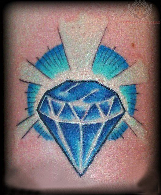 Shining Diamond Blue Ink Tattoo