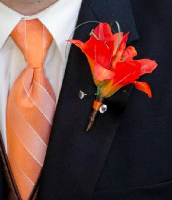 Silk Boutonniere orange tiger lily wedding by BrideinBloomWeddings, $12.00