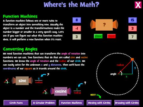 Equation Creations (free)  invites children of all ages to explore the fun side of math equations. In one section, math is used to draw beautiful sp...