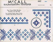 FABRIC TRANSFER CROSS STITCH VINTAGE KAUMAGRAPH PATTERNS 1940s MCCALLS 662 UNCUT