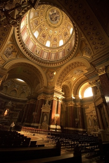 The interior of St Stephen's Basilica in Budapest.  Took my breath away when I went in.  Haven't seen anything like it.  Photo by Jim Moran on Sacred Destinations