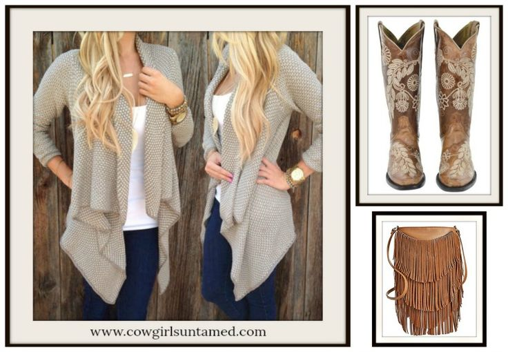 COWGIRL STYLE BOOTS Tan Floral Embroidery on Brown Boho GENUINE LEATHER Boots, tan sweater and tiered fringe shoulder bag  #boots #cowgirlboots #ladies #leather #embroidery #floral #brown #sweater #cardigan #cowgirl #western #fashion #style #ShoulderBag #handbags #bag #fringe #designer #rodeo #NFR #boutique #beautiful #shopping #boho #bohemian #gypsy