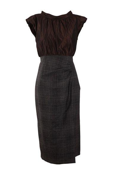 Lida Baday Brown Silk Top/Tweed Bottom Dress SZ6  $250.00